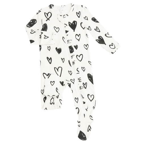 Ruffle Zip Footie, Hearts