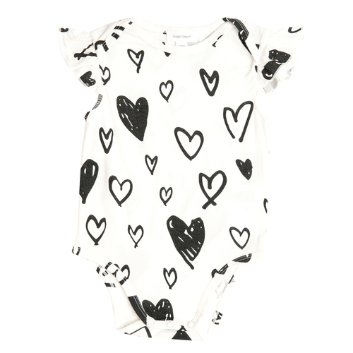 Ruffle Sleeve Bodysuit, Hearts