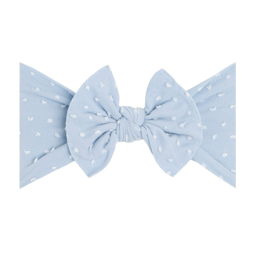 Shabby Knot Bow, Dusty Blue Dot