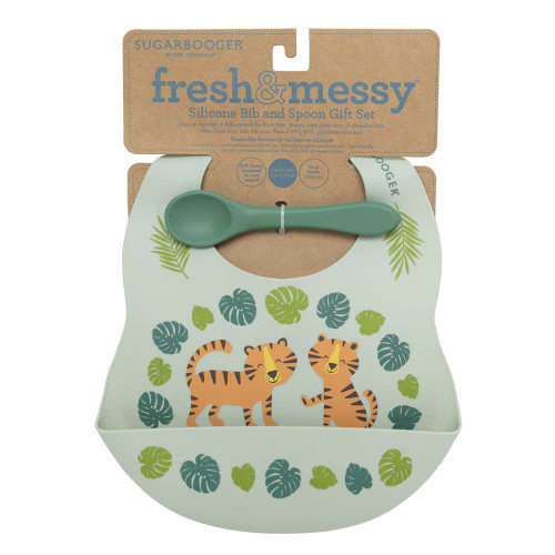 Silicone Bib & Spoon Set, Tiger