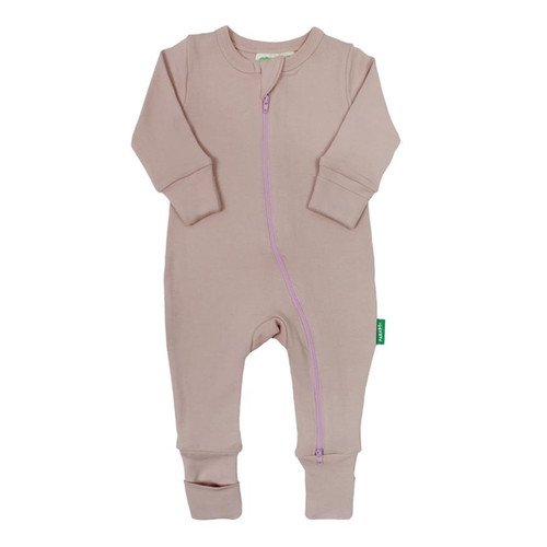 Organic Zip LS Romper, Misty Rose