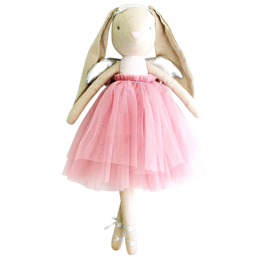 Estelle Linen Angel Bunny, Blush/Silver