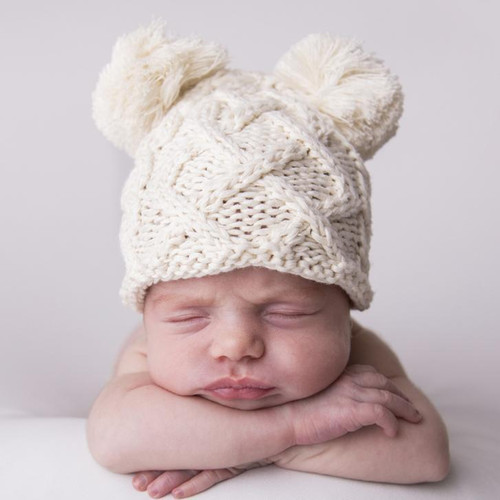 Cable Knit Newborn Pom Hat, Natural
