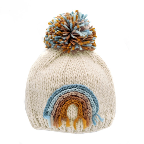 Teal Rainbow Knit Pom Hat