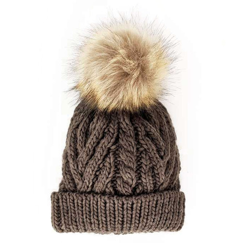 Cable Knit Pom Hat, Loden