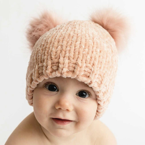 Chenille Knit Double Pom Hat, Champagne