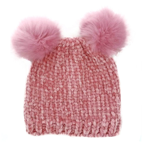 Chenille Knit Double Pom Hat, Rosy