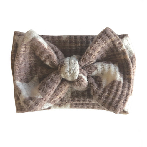 Sweater Bow Headband, Taupe Star