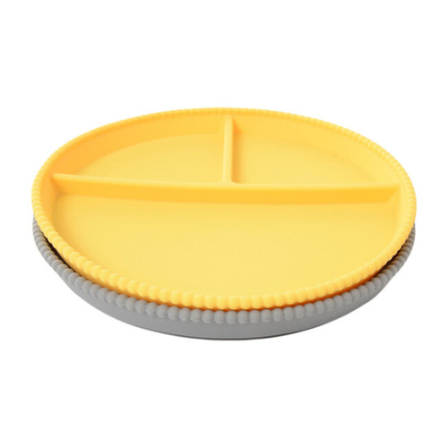 2-Pack Silicone Divided Plates,Grey/Yellow