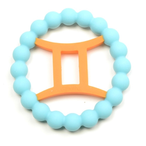 Zodiac Silicone Teether, Gemini Blue