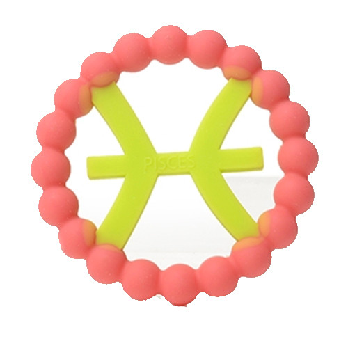Zodiac Silicone Teether, Pisces Pink