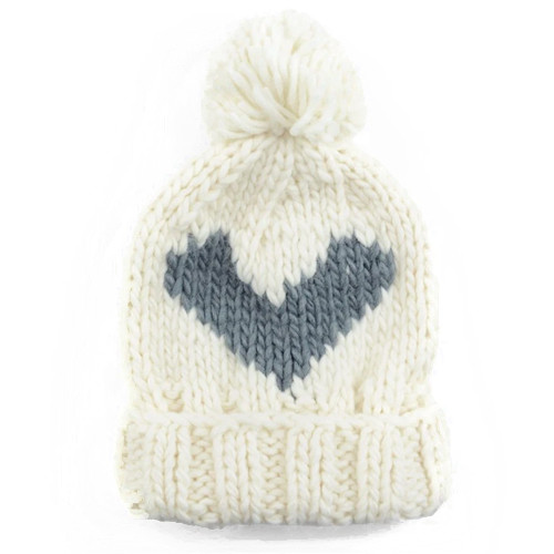 Grey Heart Knit Hat