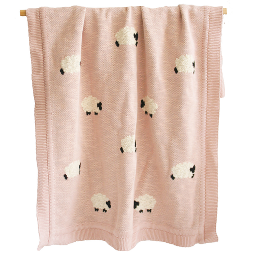 Organic Cotton Baa Baa Sheep Blanket, Dusty Pink