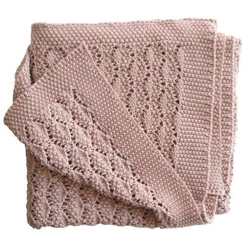 Organic Cotton Heritage Knit Blanket, Pink Blossom