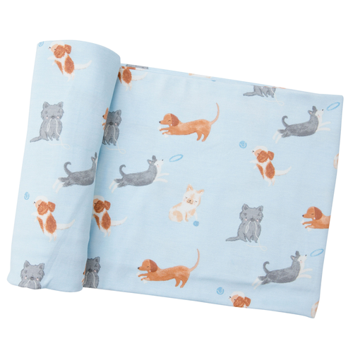 Bamboo Swaddle, Blue Puppies