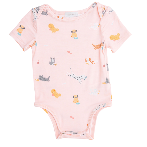 Short Sleeve Bodysuit, Pink Puppies