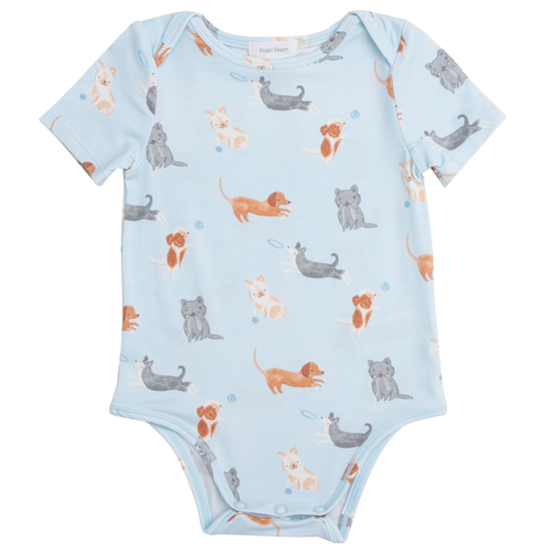 Short Sleeve Bodysuit, Blue Puppies