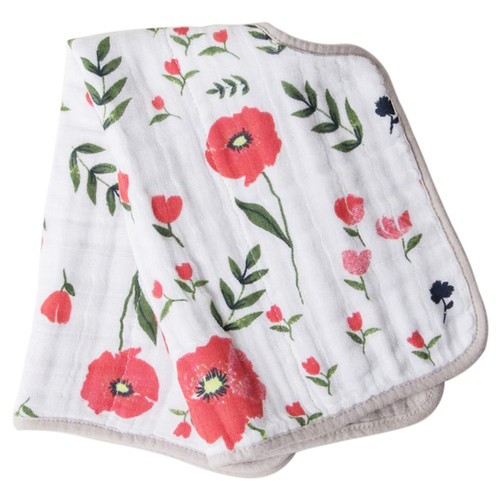 Muslin Burp Cloth, Summer Poppy