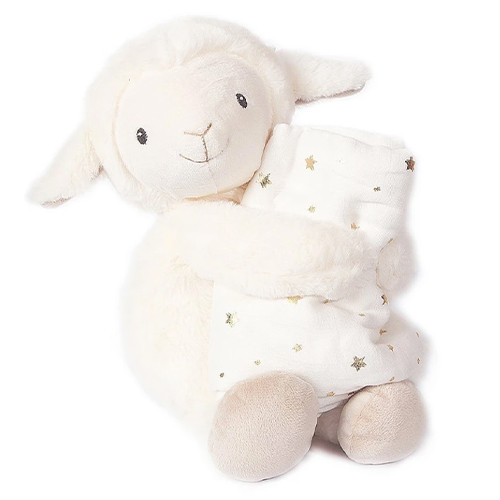 Lamb Plush Toy & Muslin Blanket Gift Set