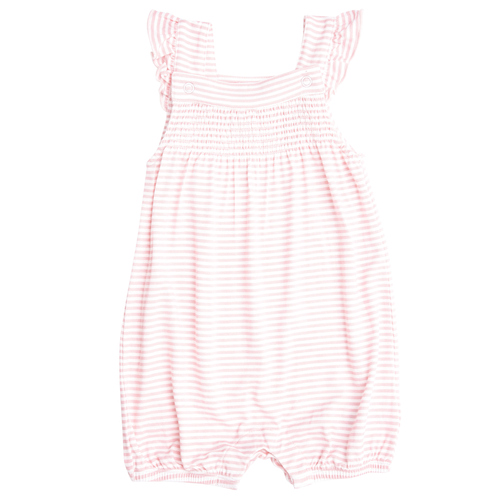 Smocked Shorts Romper, Baby Pink Stripe