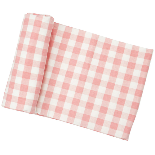Bamboo Stretch Swaddle, Pink Gingham