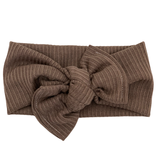 Headwrap Bow, Brown Ribbed