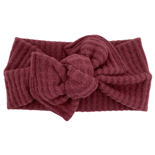 Headwrap Bow, Boysenberry Sweater Knit