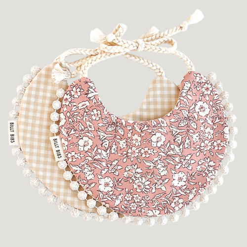 Reversible Bib, May Gingham/Floral