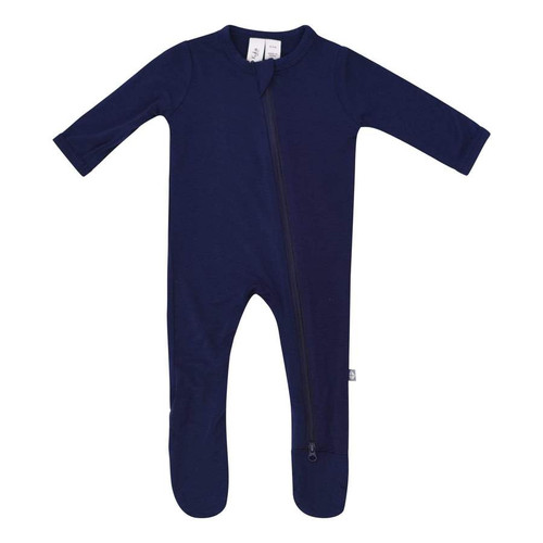Bamboo Zip Footie, Navy