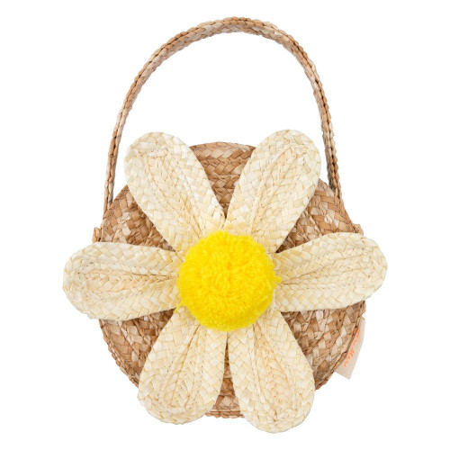 Straw Bag, White Daisy