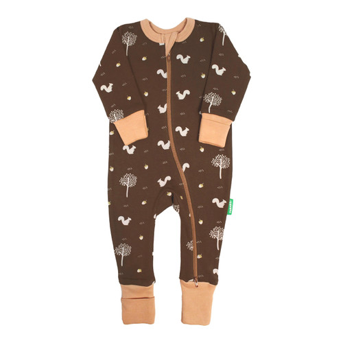 Organic Zip LS Romper,  Chocolate Squirrels