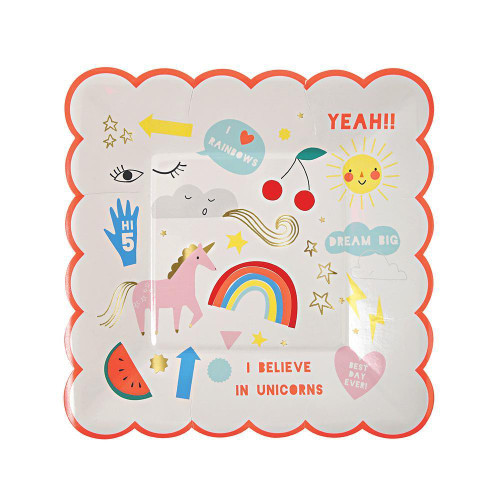 Small Rainbows & Unicorn Party Plates