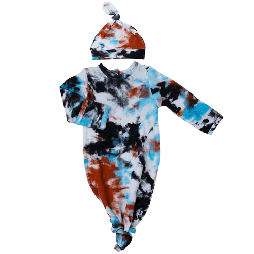 Knotted Gown & Hat Set, Crinkle Tie Dye Blue
