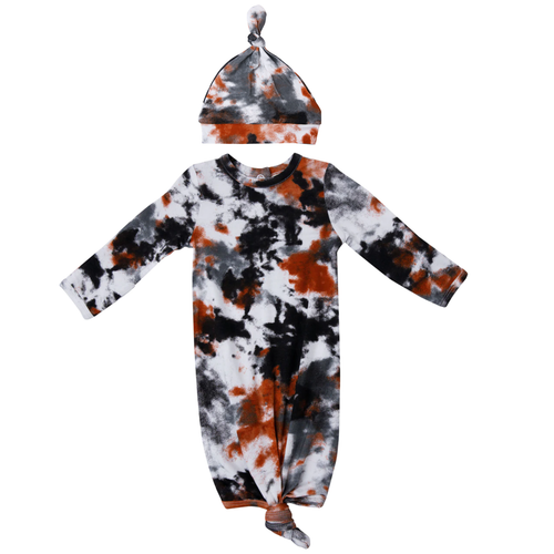 Knotted Gown & Hat Set, Crinkle Tie Dye Grey