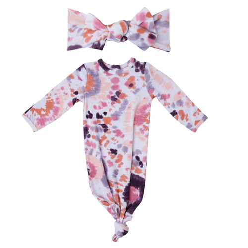 Knotted Gown & Bow Set, Purple Haze Ray Tie Dye