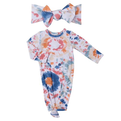 Knotted Gown & Bow Set, Canyon Haze Ray Tie Dye