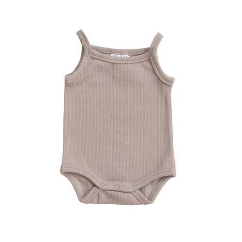 Tank Ribbed Bodysuit, Taupe