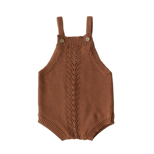 Embellished Knit Romper, Rust