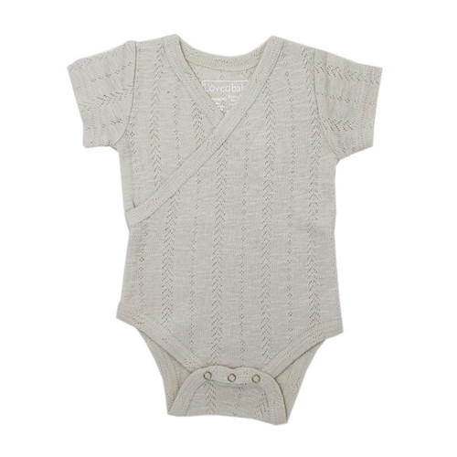 Pointelle Wrap Bodysuit, Stone