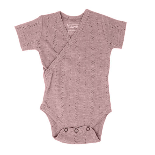 Pointelle Wrap Bodysuit, Thistle