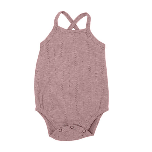 Pointelle Crossback Bodysuit, Thistle