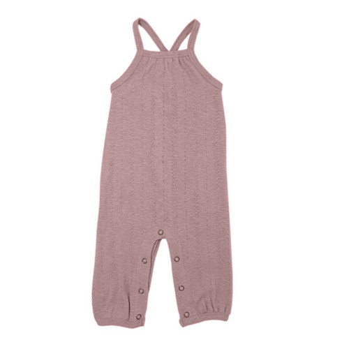 Pointelle Crossback Romper, Thistle