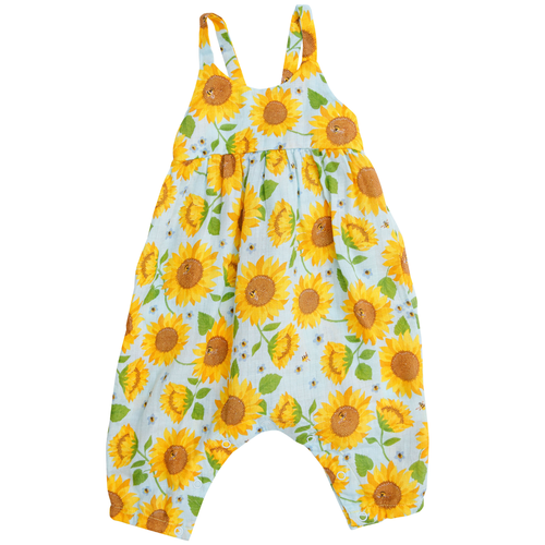Tie Back Romper, Sunflowers