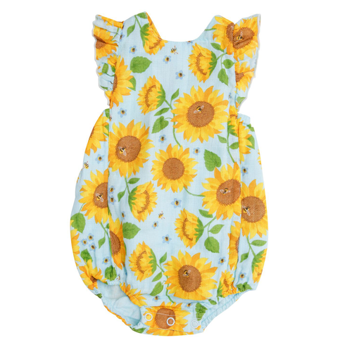 Ruffle Sunsuit, Sunflowers