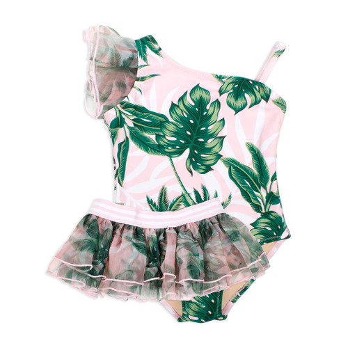 Organza Shoulder Swimsuit w/ Skirt, Tropical Pink Palm