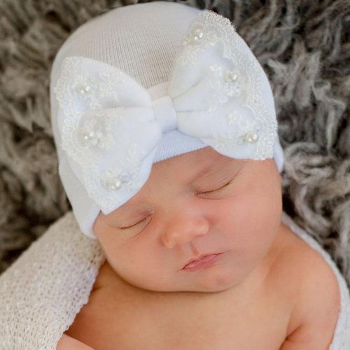 Newborn Bow Hat, Pearls & Lace