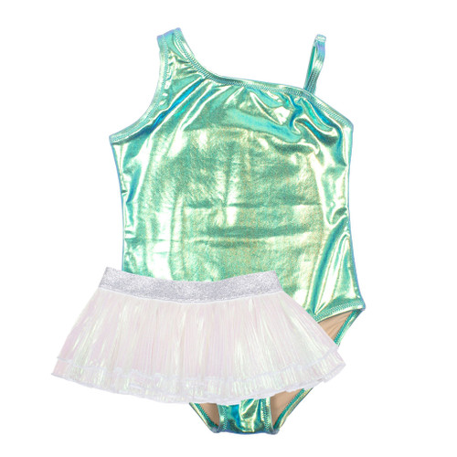 One Shoulder Swimsuit w/ Skirt, Metallic Mint