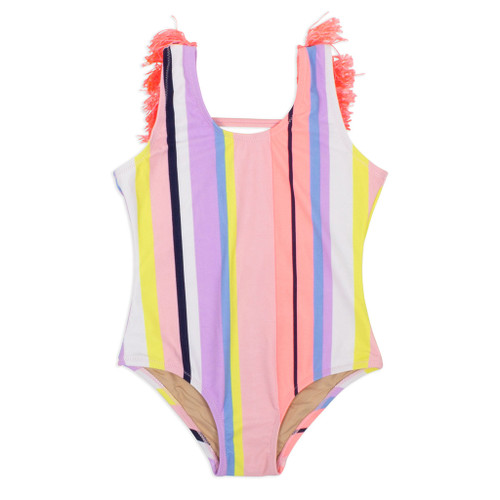 Fringe Back Swimsuit, Coral Stripe
