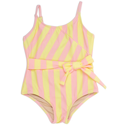 Faux Wrap Swimsuit, Pink & Yellow Stripe