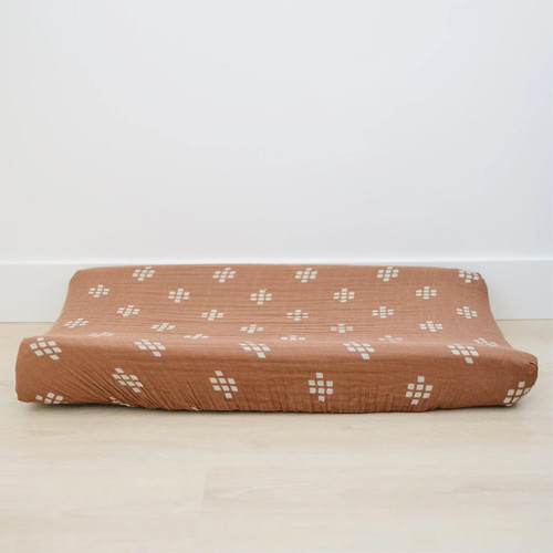 Muslin Changing Pad Cover, Chestnut Textiles